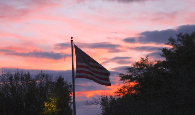 American Flag at Sunset 2
