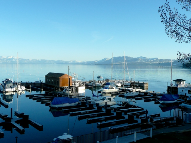 Beautiful Harbor North Lake Tahoe with boat